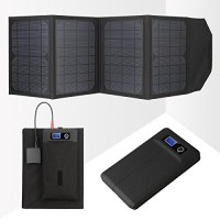 Levin™ 16000 mAh Multi-Voltage (5V / 8.4V / 9V / 12V / 16V / 19V / 21V) Laptop External Battery Pack Charger with 20W High Powered Foldable Laptop Solar Panel Charger for Notebooks and Apple devices(iPhone, iPad and other Apple devices are all included), Samsung ,Windows Phones and All Other Android Devices. (Black)